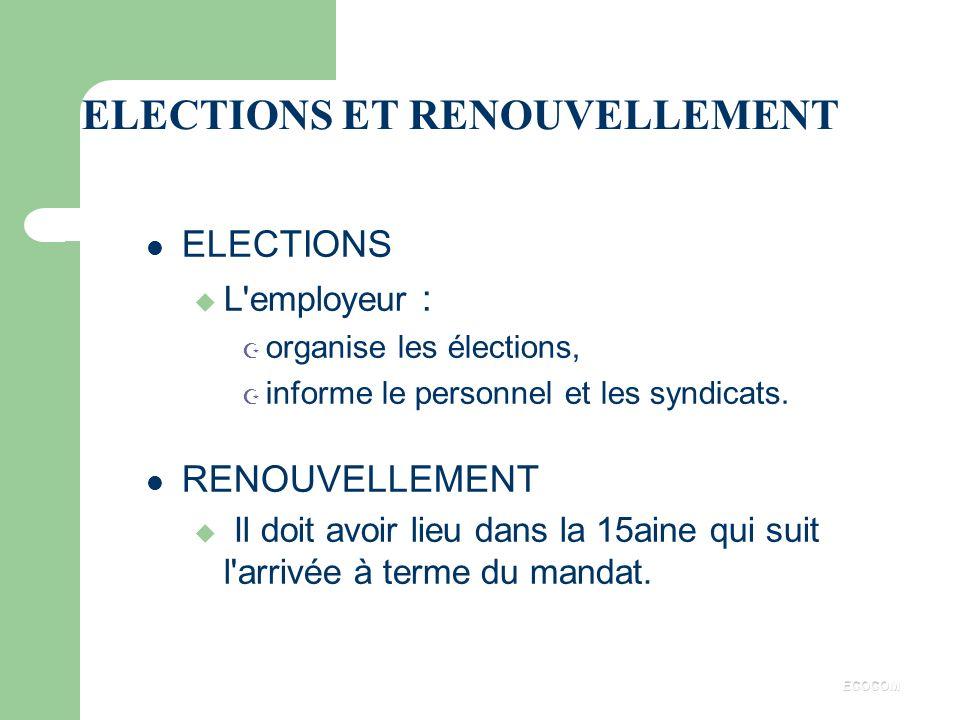 ELECTIONS ET RENOUVELLEMENT