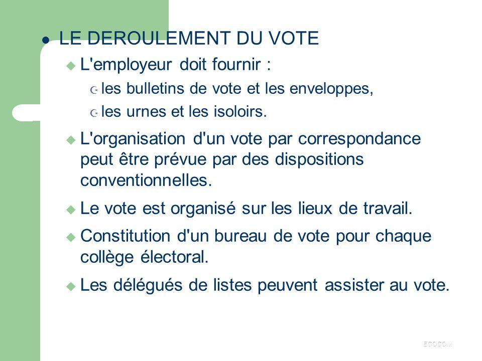 LE DEROULEMENT DU VOTE L employeur doit fournir :