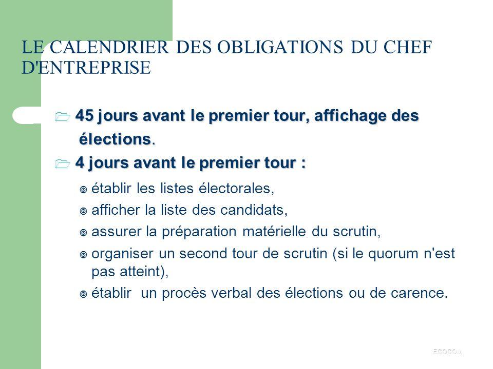 LE CALENDRIER DES OBLIGATIONS DU CHEF D ENTREPRISE