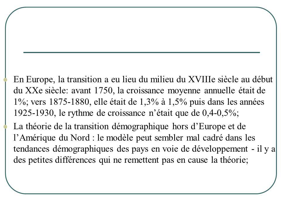 En Europe, la transition a eu lieu du milieu du XVIIIe siècle au début du XXe siècle: avant 1750, la croissance moyenne annuelle était de 1%; vers 1875-1880, elle était de 1,3% à 1,5% puis dans les années 1925-1930, le rythme de croissance n'était que de 0,4-0,5%;