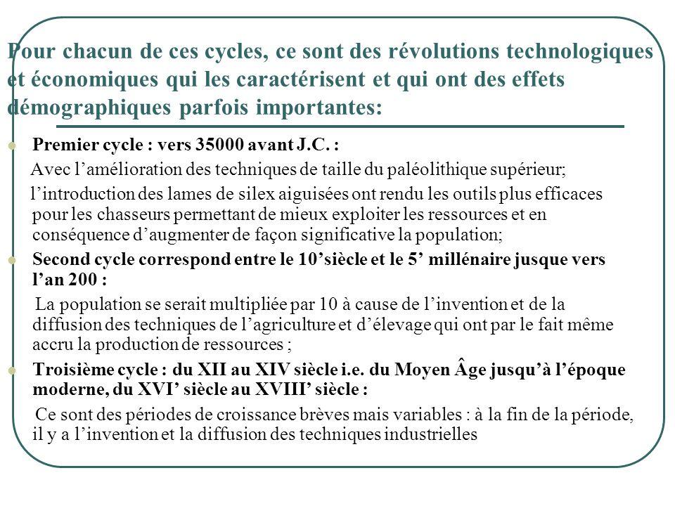 Pour chacun de ces cycles, ce sont des révolutions technologiques et économiques qui les caractérisent et qui ont des effets démographiques parfois importantes: