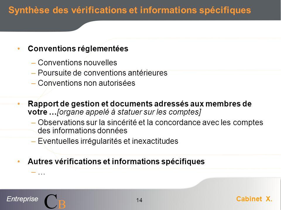 Synthèse des vérifications et informations spécifiques