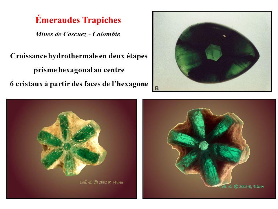 Émeraudes Trapiches Croissance hydrothermale en deux étapes
