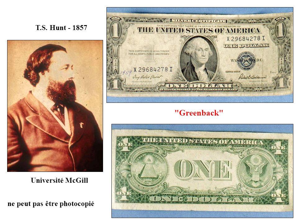 Greenback T.S. Hunt - 1857 Université McGill
