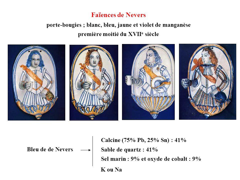 Faïences de Nevers porte-bougies ; blanc, bleu, jaune et violet de manganèse. première moitié du XVIIe siècle.