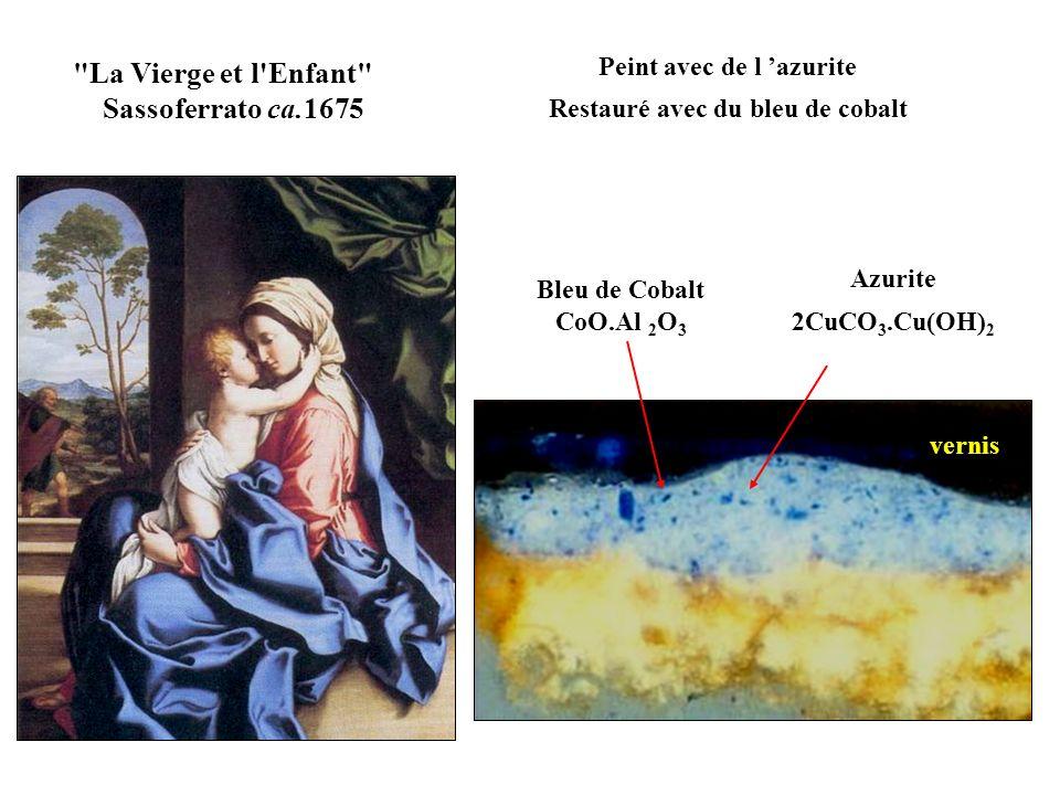 Peint avec de l 'azurite Restauré avec du bleu de cobalt