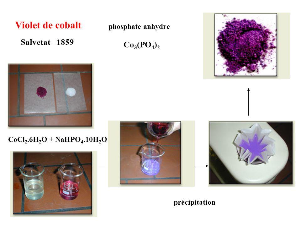 Violet de cobalt Salvetat - 1859 Co3(PO4)2 phosphate anhydre
