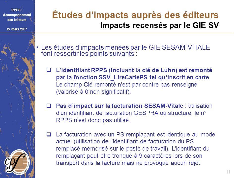 Études d'impacts auprès des éditeurs