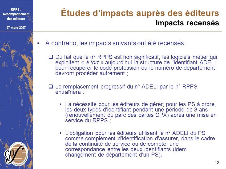 Études d'impacts auprès des éditeurs Impacts recensés