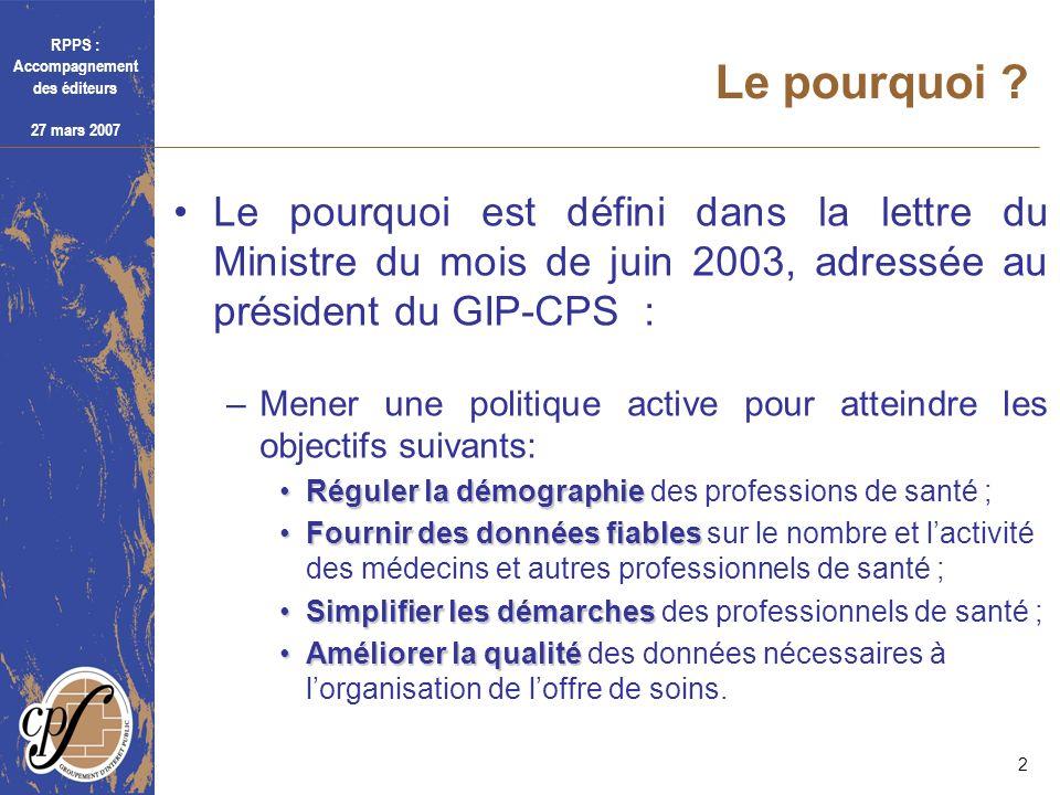 Le pourquoi Le pourquoi est défini dans la lettre du Ministre du mois de juin 2003, adressée au président du GIP-CPS :