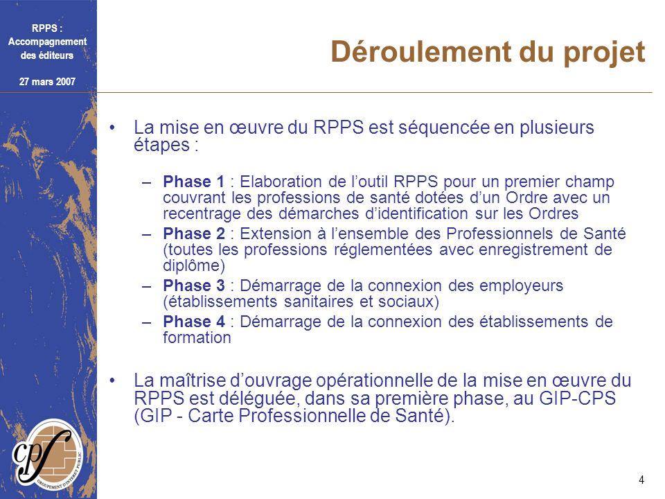 Déroulement du projetLa mise en œuvre du RPPS est séquencée en plusieurs étapes :