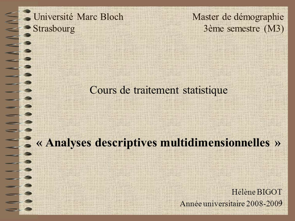 « Analyses descriptives multidimensionnelles »