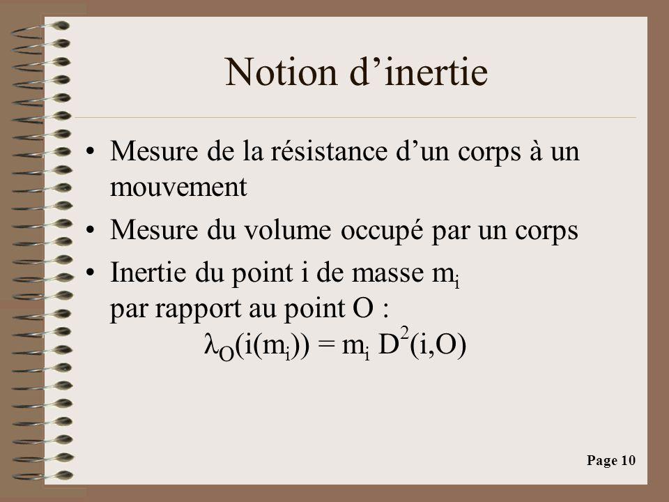 Notion d'inertie Mesure de la résistance d'un corps à un mouvement