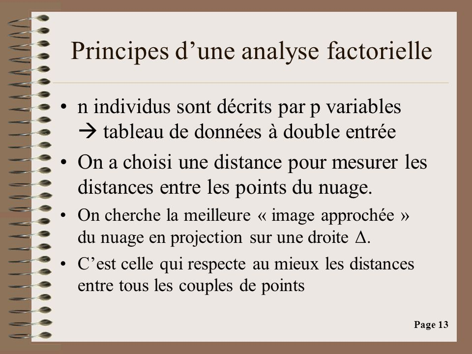 Principes d'une analyse factorielle