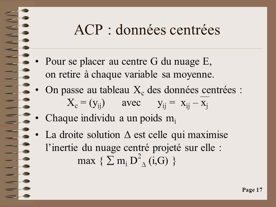 ACP : données centrées Pour se placer au centre G du nuage E, on retire à chaque variable sa moyenne.