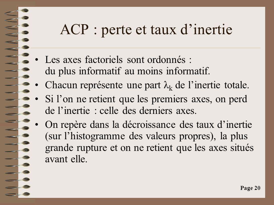 ACP : perte et taux d'inertie