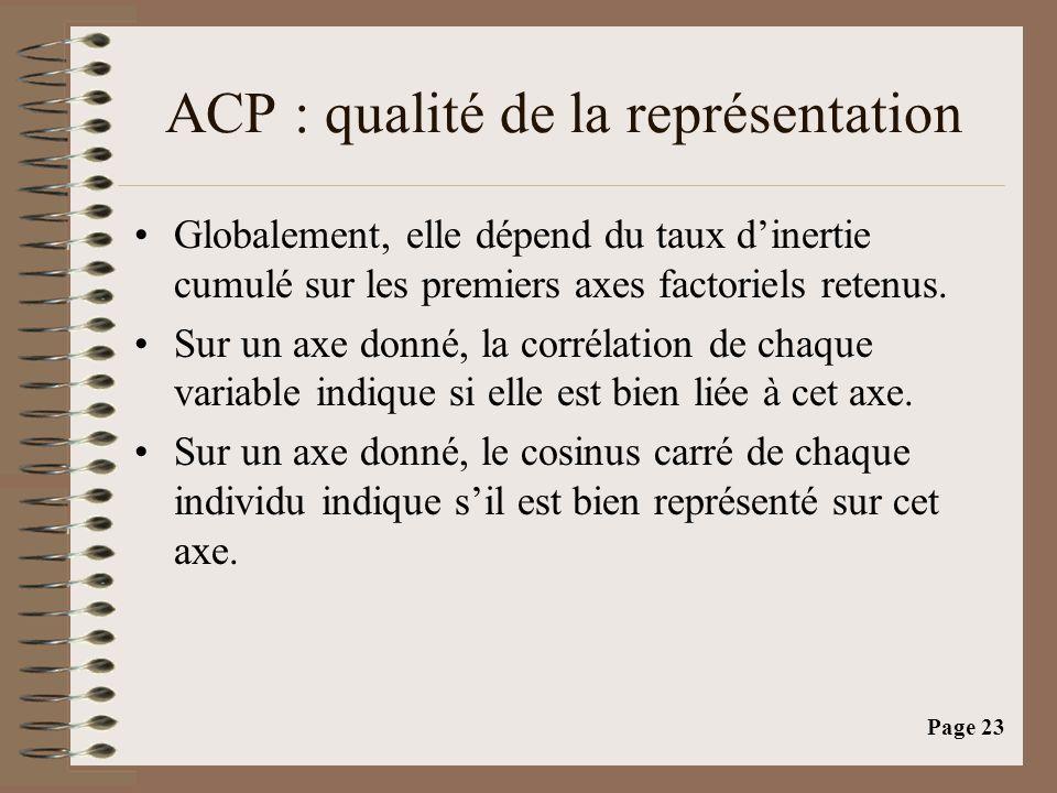 ACP : qualité de la représentation