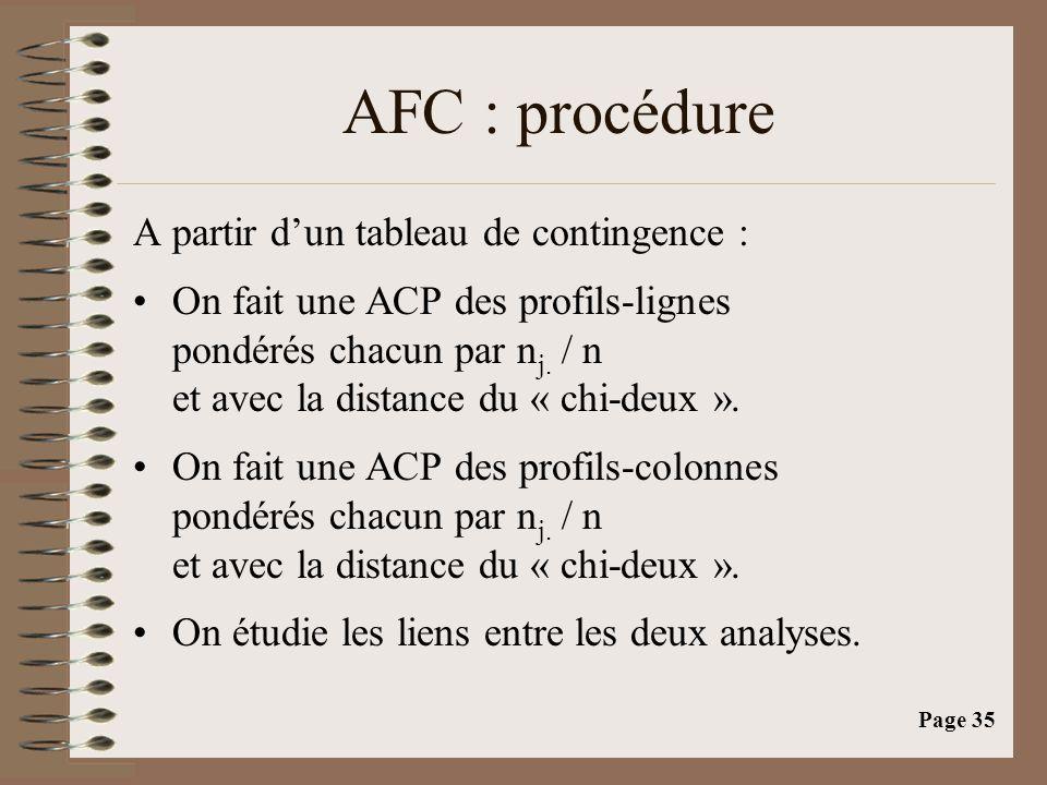 AFC : procédure A partir d'un tableau de contingence :