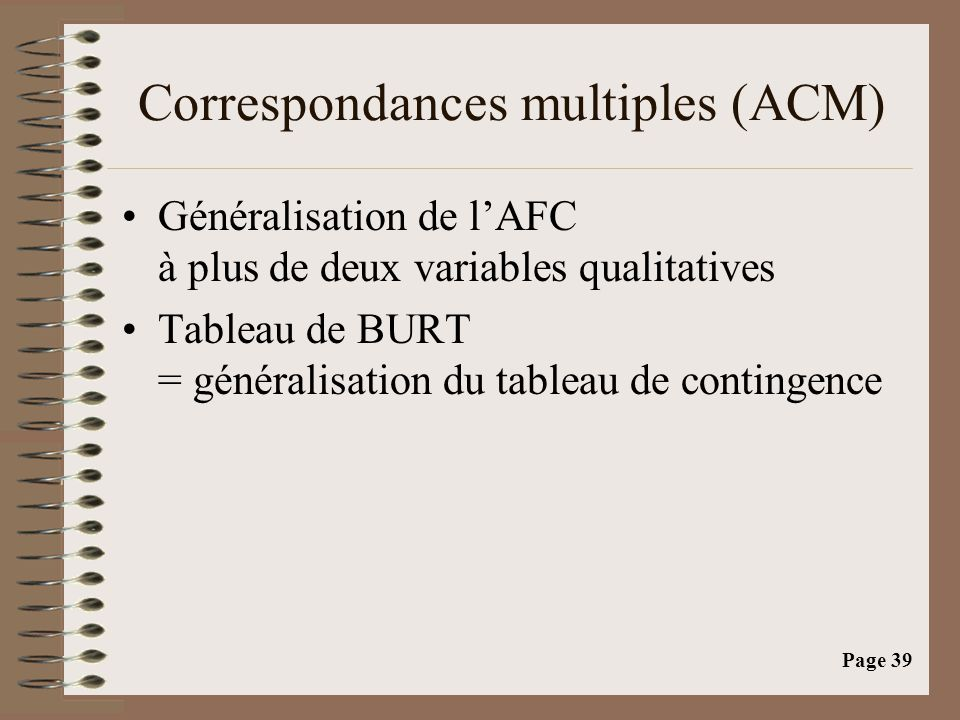 Correspondances multiples (ACM)