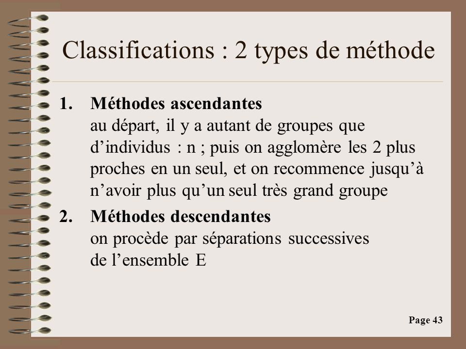 Classifications : 2 types de méthode