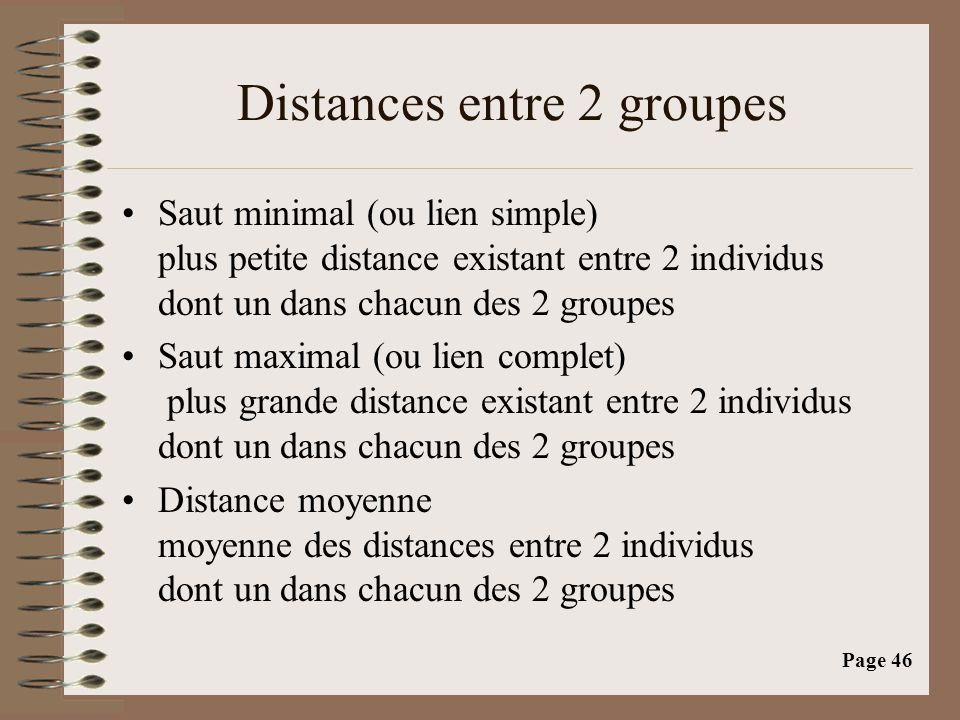 Distances entre 2 groupes