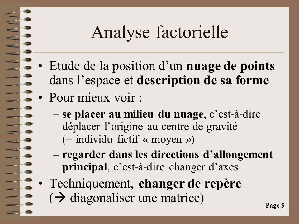 Analyse factorielle Etude de la position d'un nuage de points dans l'espace et description de sa forme.