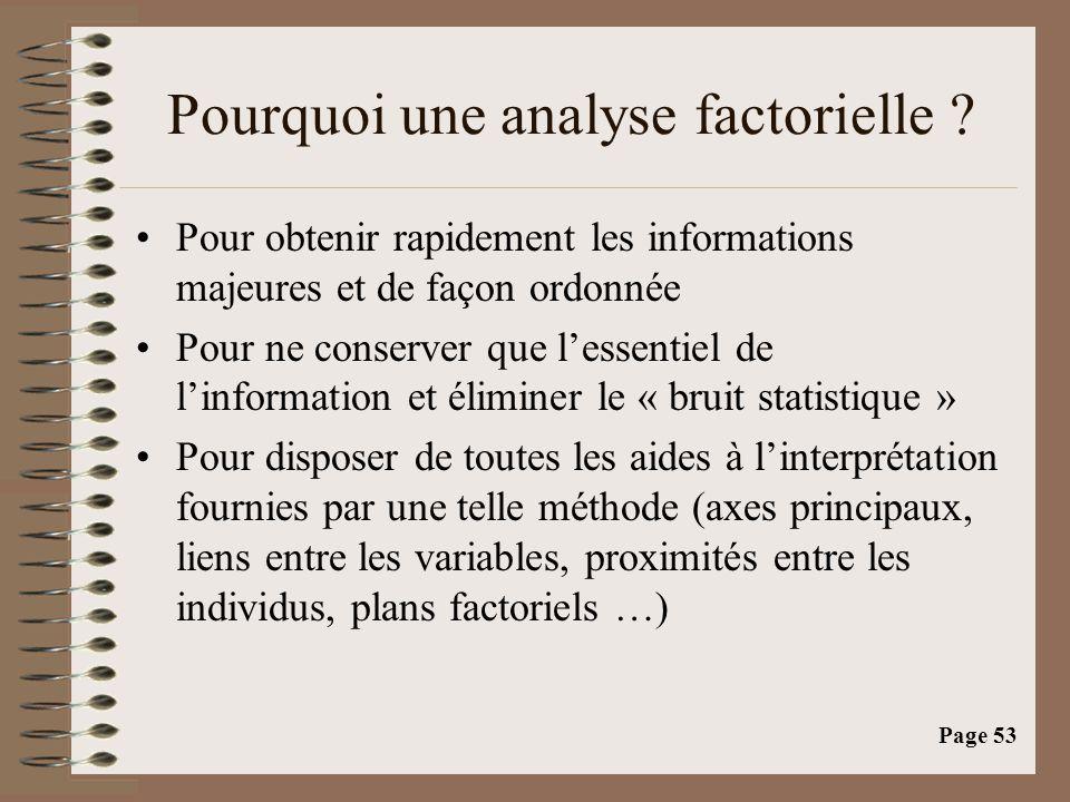 Pourquoi une analyse factorielle