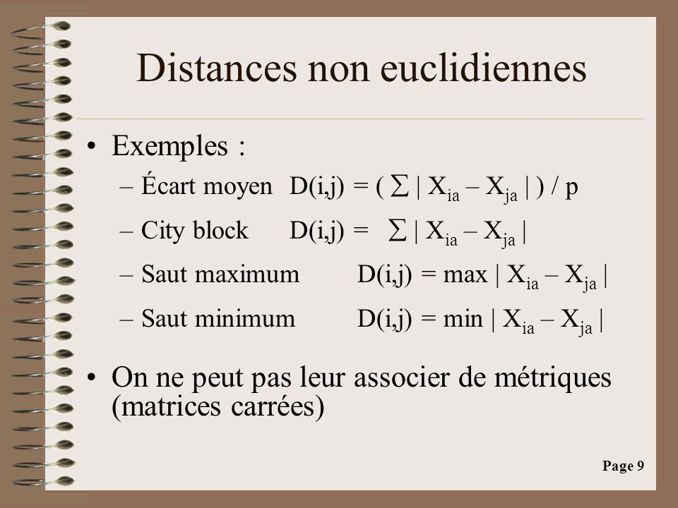 Distances non euclidiennes