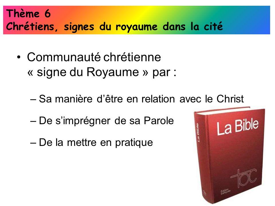 Communauté chrétienne « signe du Royaume » par :