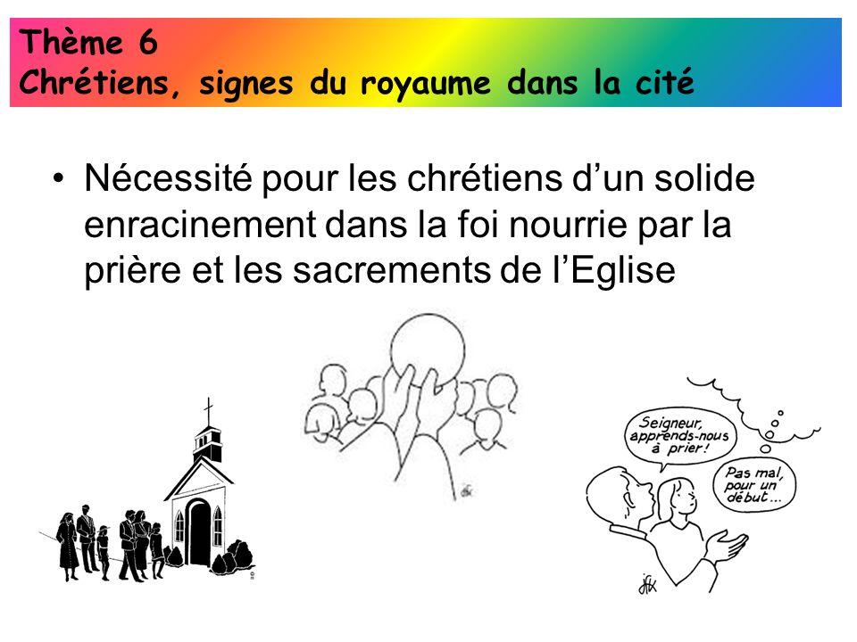 Thème 6 Chrétiens, signes du royaume dans la cité.
