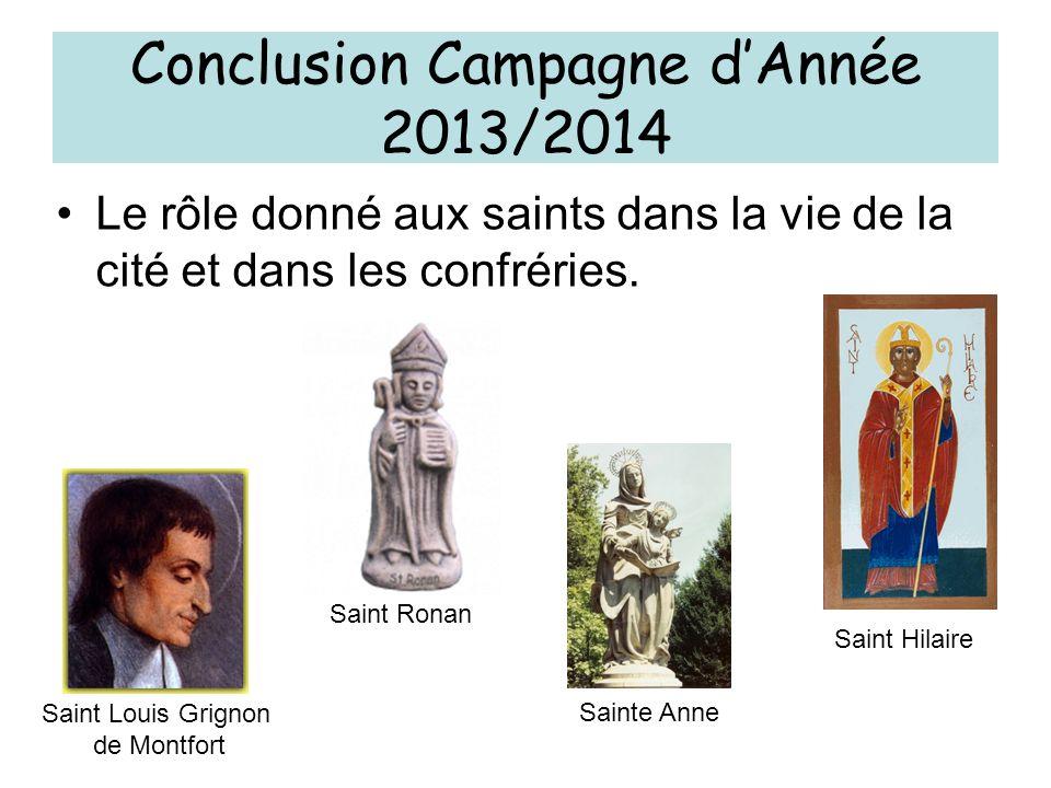 Conclusion Campagne d'Année 2013/2014