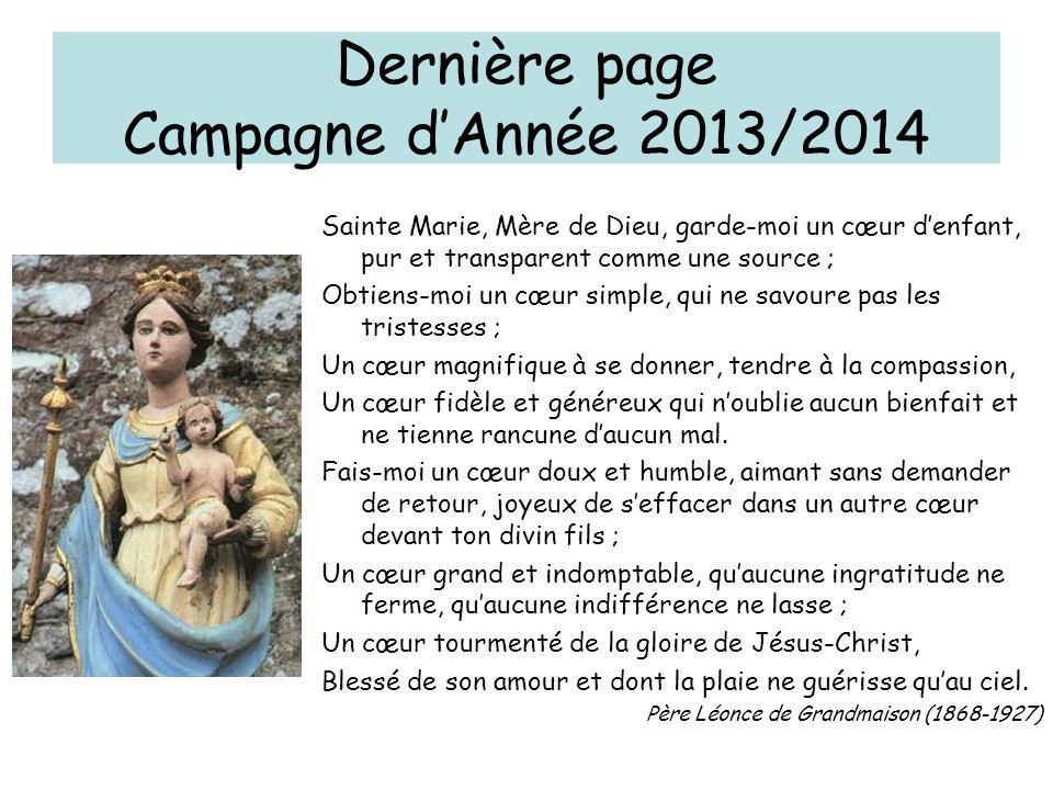 Dernière page Campagne d'Année 2013/2014
