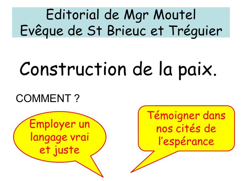 Editorial de Mgr Moutel Evêque de St Brieuc et Tréguier