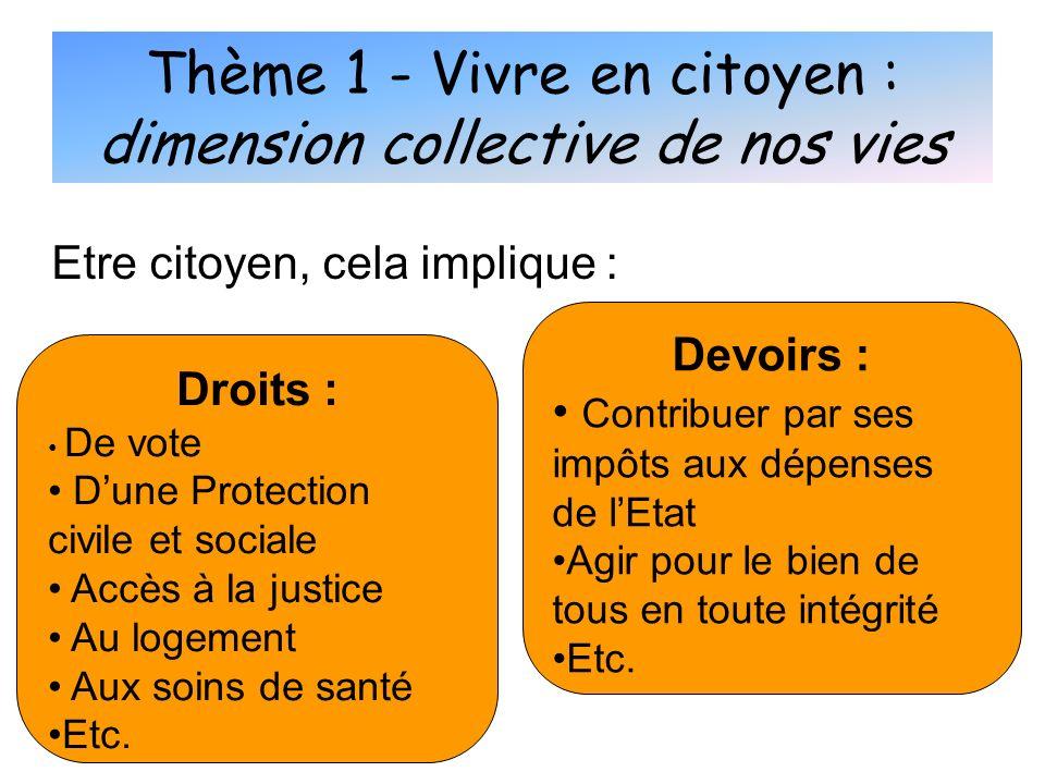 Thème 1 - Vivre en citoyen : dimension collective de nos vies