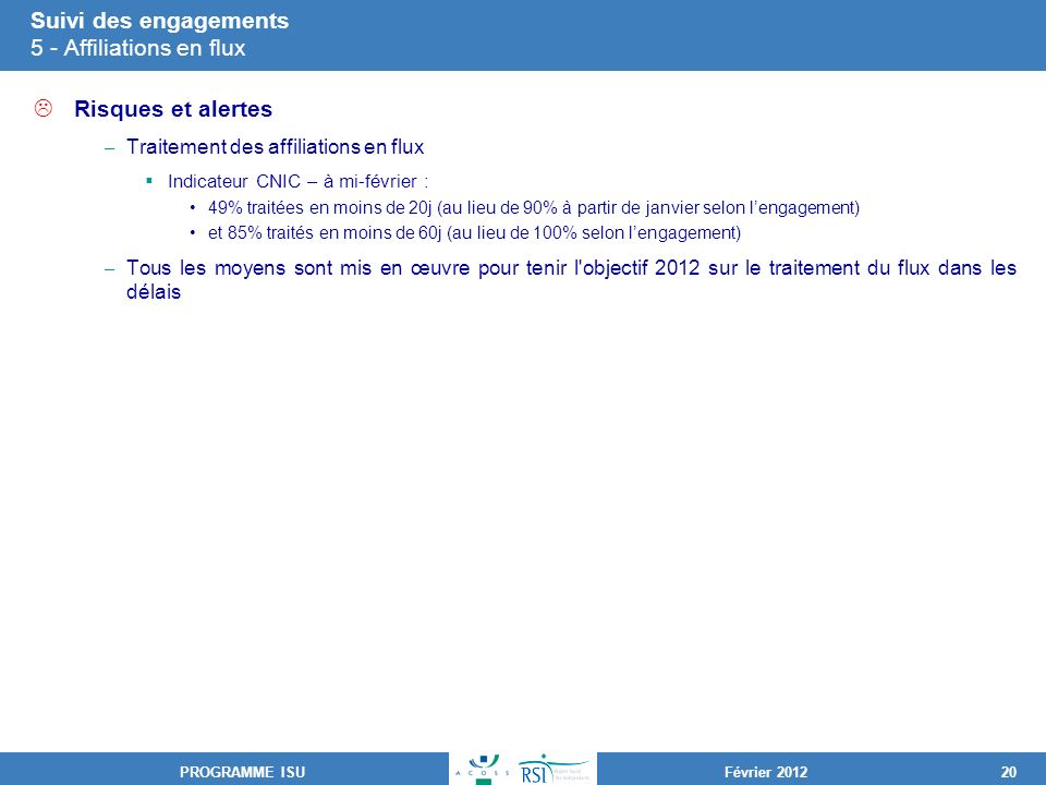 Suivi des engagements 5 - Affiliations en flux
