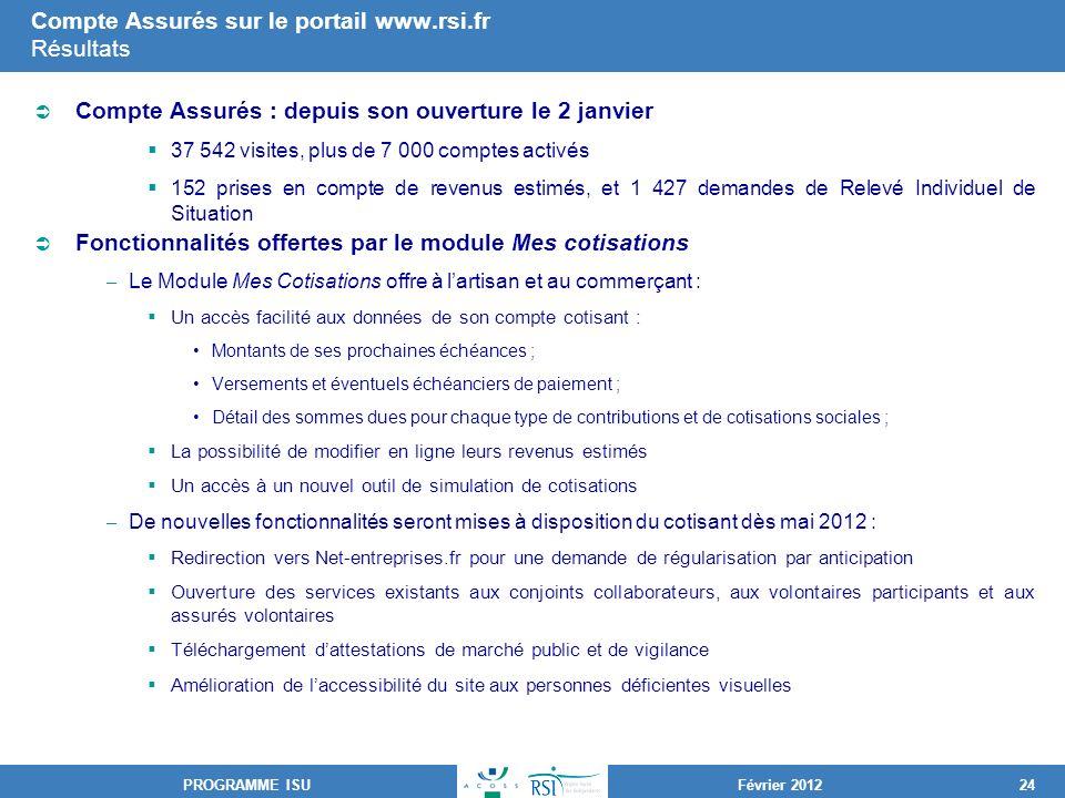 Compte Assurés sur le portail www.rsi.fr Résultats