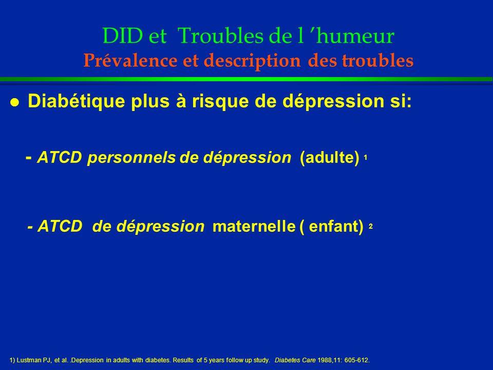 DID et Troubles de l 'humeur Prévalence et description des troubles