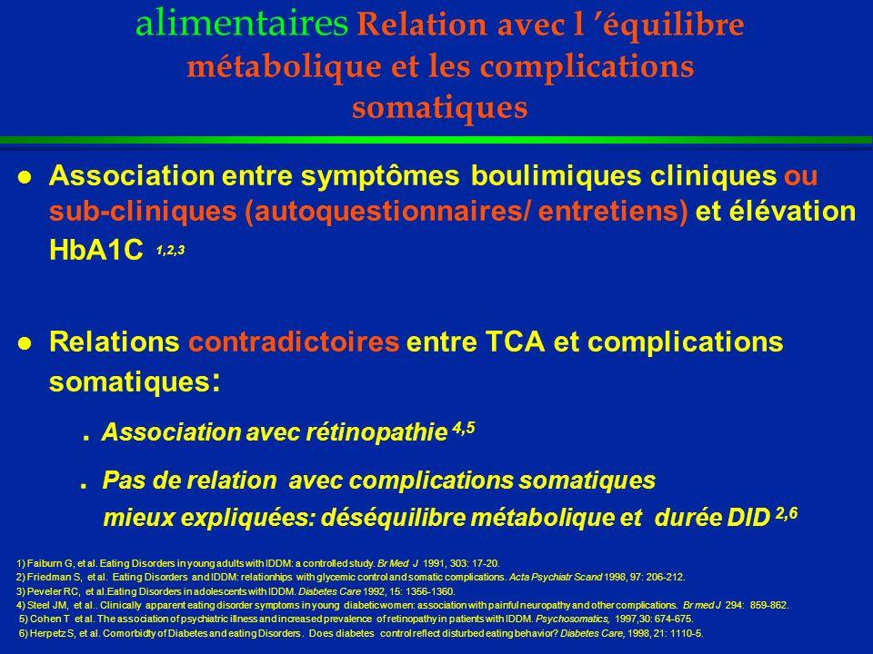 DID et Troubles des conduites alimentaires Relation avec l 'équilibre métabolique et les complications somatiques