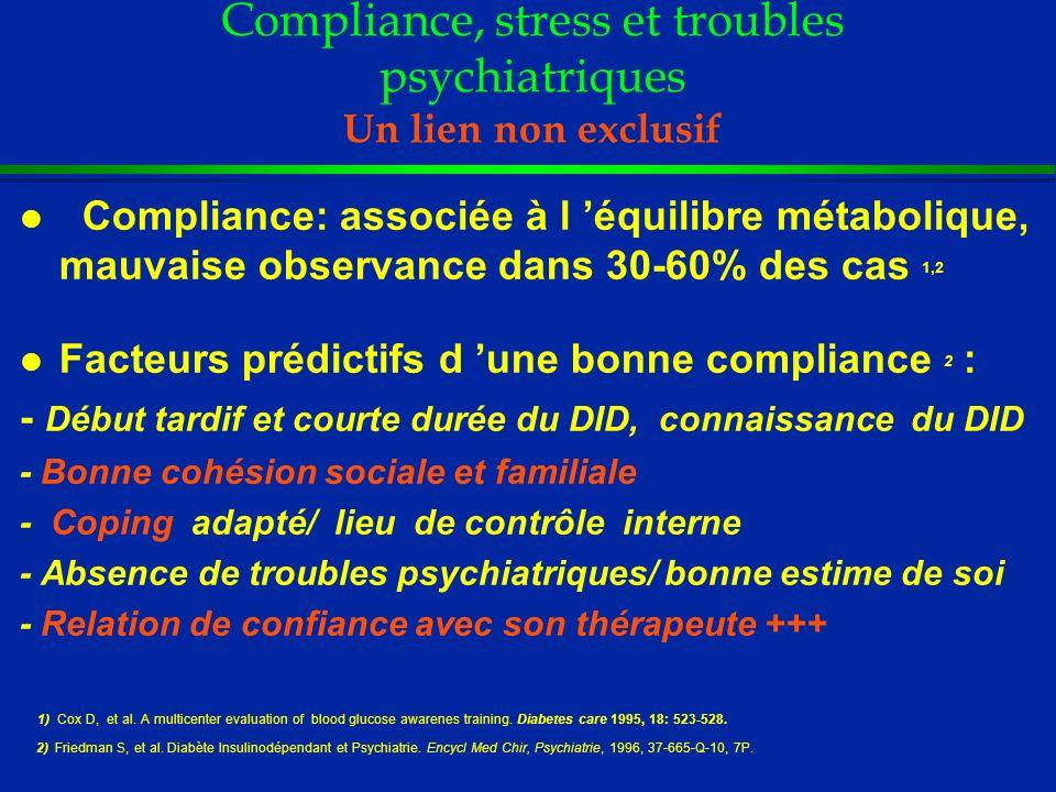 Compliance, stress et troubles psychiatriques Un lien non exclusif