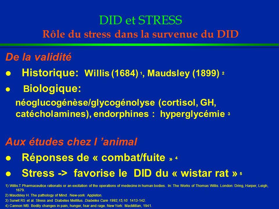 DID et STRESS Rôle du stress dans la survenue du DID