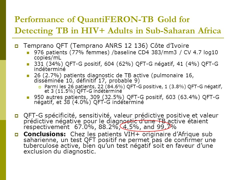 Performance of QuantiFERON-TB Gold for Detecting TB in HIV+ Adults in Sub-Saharan Africa