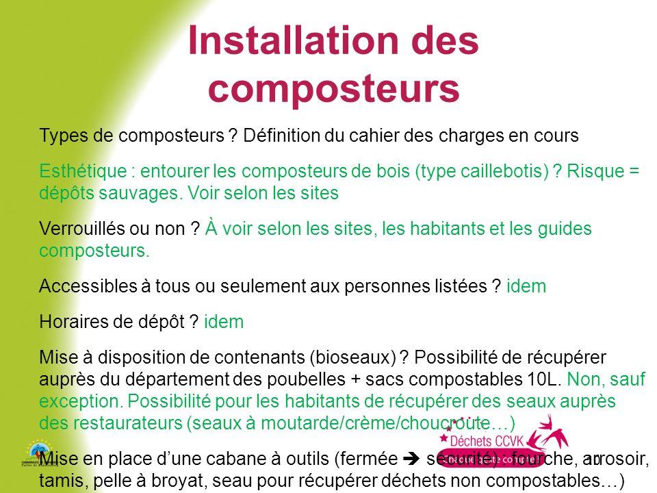 Installation des composteurs