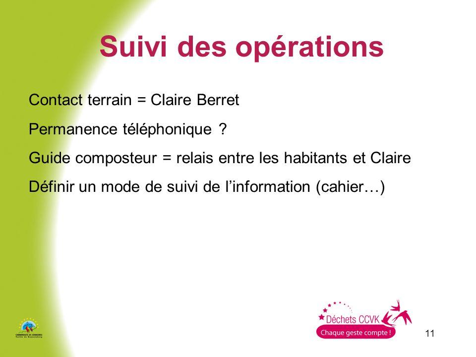 Suivi des opérations Contact terrain = Claire Berret