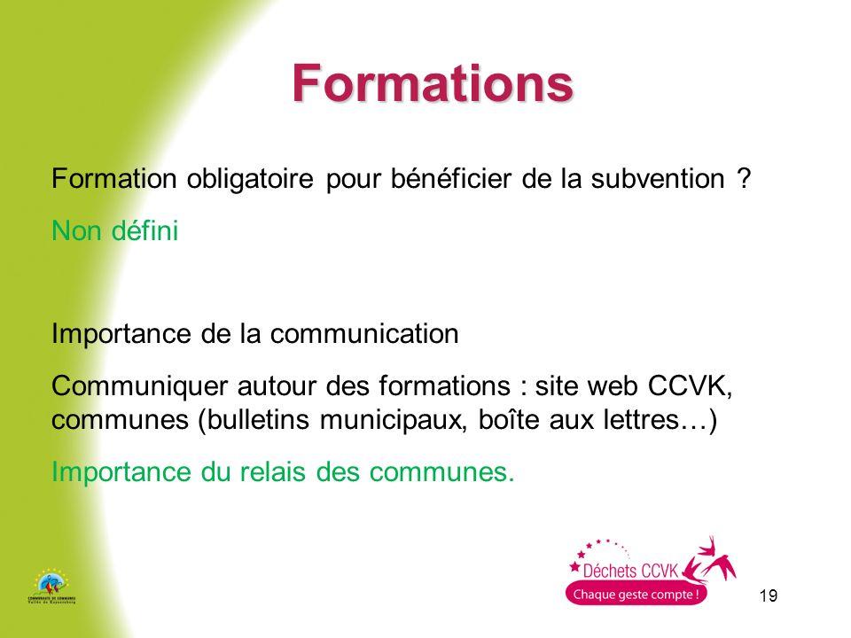 Formations Formation obligatoire pour bénéficier de la subvention