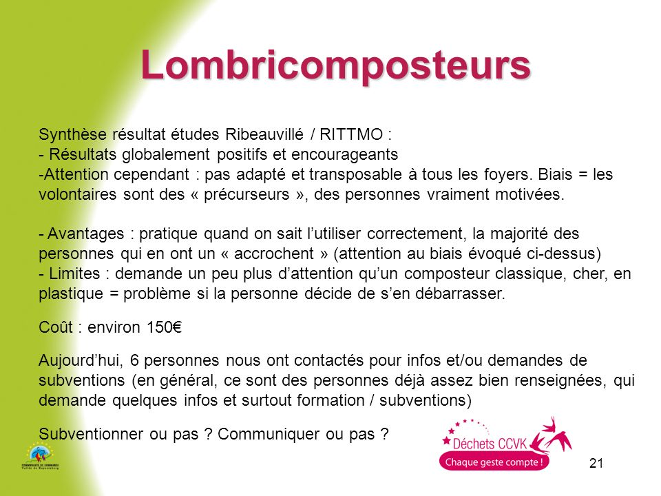 Lombricomposteurs Synthèse résultat études Ribeauvillé / RITTMO :