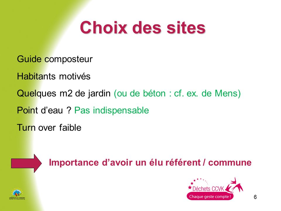 Choix des sites Guide composteur Habitants motivés