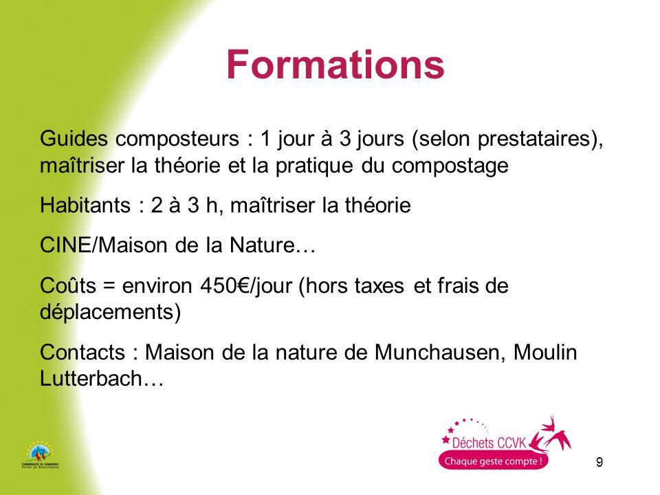 Formations Guides composteurs : 1 jour à 3 jours (selon prestataires), maîtriser la théorie et la pratique du compostage.