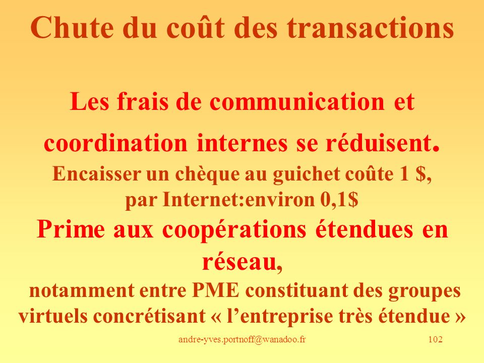 Chute du coût des transactions