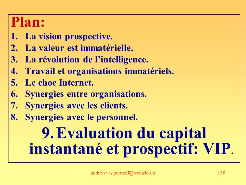 Evaluation du capital instantané et prospectif: VIP.