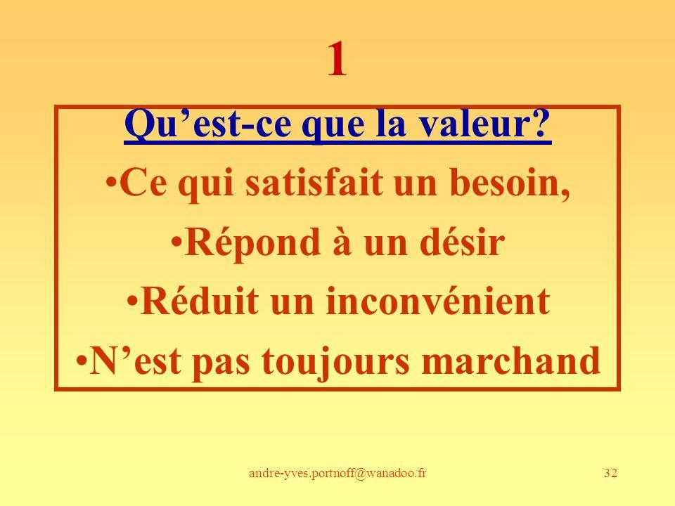 1 Qu'est-ce que la valeur Ce qui satisfait un besoin,